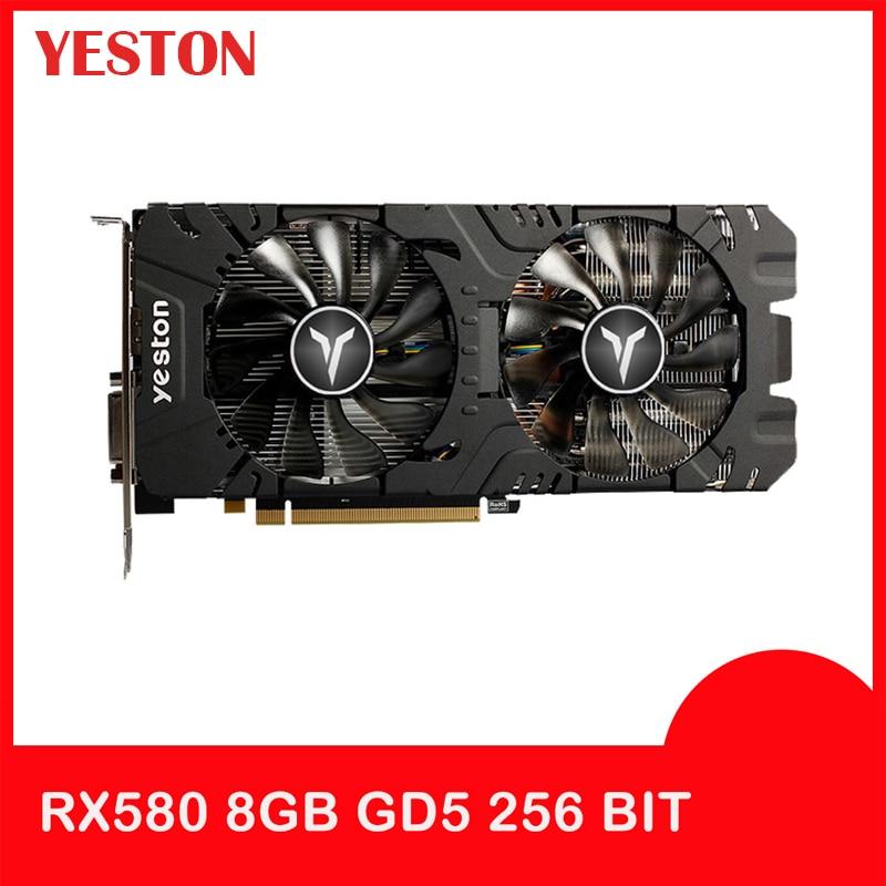 Yeston Radeon Graphics Card RX 580 GPU 8GB GDDR5 256bit Gaming Desktop Computer PC Video  Support DVI-D/HDMI PCI-E X16 3.0