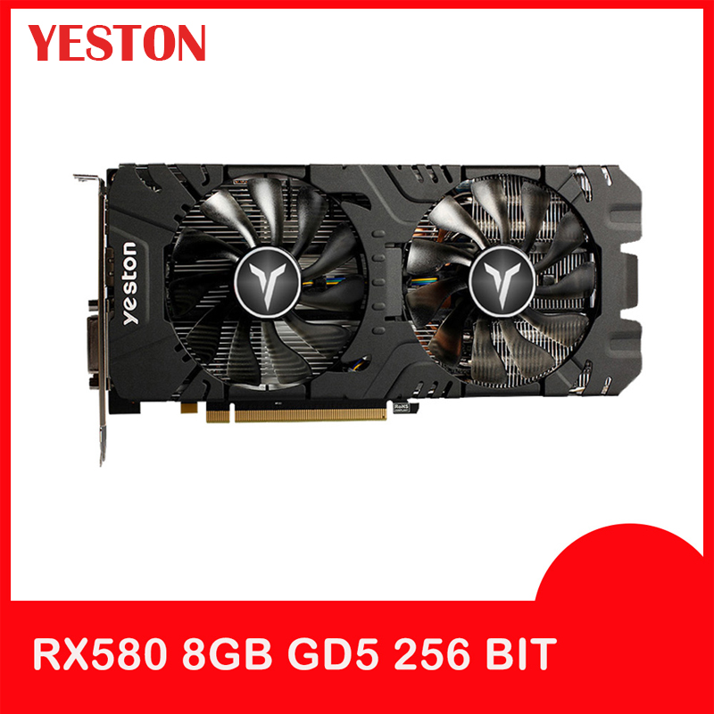 Yeston Radeon Graphics Card <font><b>RX</b></font> <font><b>580</b></font> GPU 8GB <font><b>GDDR5</b></font> 256bit Gaming Desktop computer PC Video support DVI-D/HDMI PCI-E X16 3.0 image