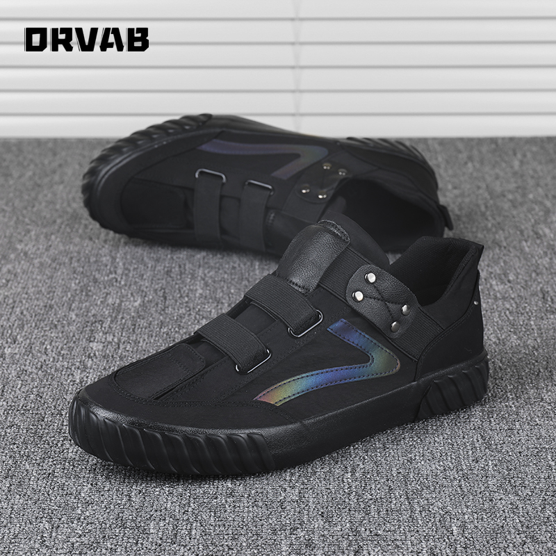 Men Canvas Shoes Tenis Masculino Adulto Fashion Slip On Breathable Casual Shoes Youth Boys All Black