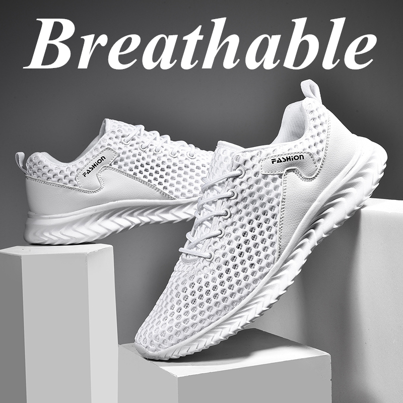 Men's Sneakers Hollow Large Size Running Sport Shoes Sports Breathable Tide Men Shoes Casual Small White Shoes 2020 Summer New