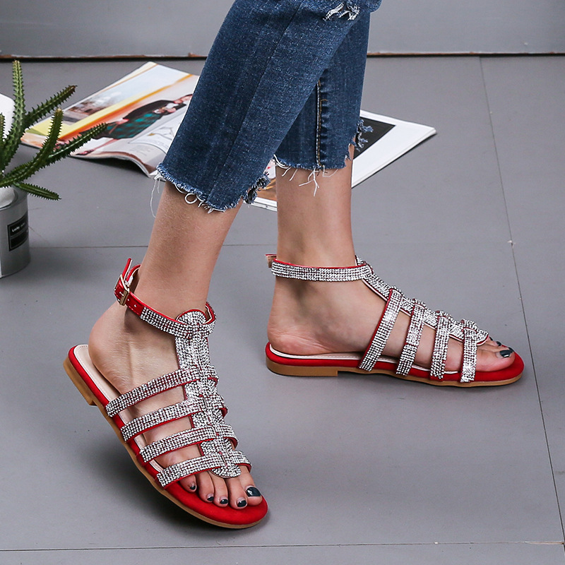 women summer sandals fashion low heel hoof heels crystal breathable back strap solid flat bottom casual buckle women shoes
