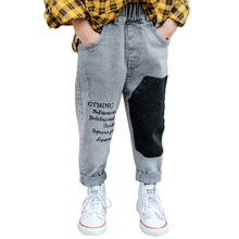 Chłopcy dżinsy wzór w napisy dziecięce dżinsy dla chłopców patchworkowe dżinsy dziecięce Casual Style dziecięce dżinsy tanie tanio Tryounger Na co dzień Pasuje prawda na wymiar weź swój normalny rozmiar H5N0235 Elastyczny pas REGULAR Medium JEANS