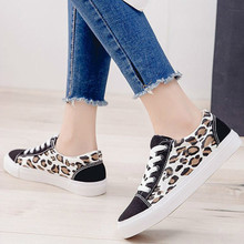 2019 new casual flat girls shoe woman round toe lace up canvas leopard wxx030