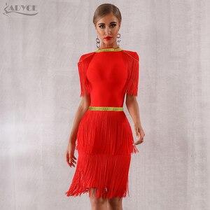Image 3 - Adyce 2020 뉴 여름 레드 프린지 연예인 저녁 활주로 파티 드레스 여성 섹시한 Tassels 블랙 짧은 소매 클럽 드레스 Vestidos
