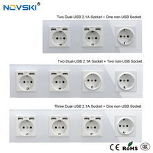EU Multi USB Hybrid Plug Wall Crystal Glass Panel Power Socket Grounded, 16A Quadruple Electrical Socket White, 5 Years Warranty