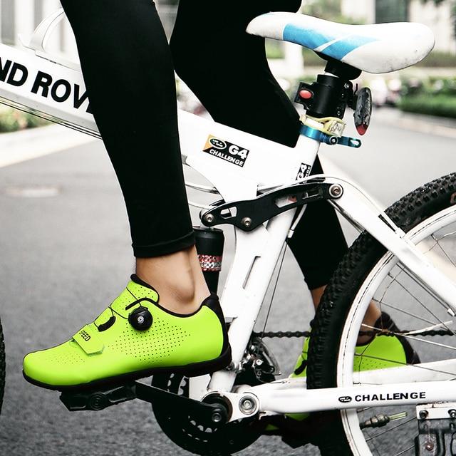 Ultraleve auto-travamento sapatos de ciclismo mtb profissional sapatos de grampo spd pedal de corrida de bicicleta de estrada sapatos planos tênis de bicicleta unisex 6