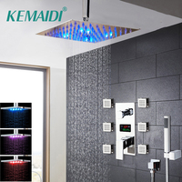 KEMAIDI Digital Display Shower Sets Body Massage System Jets Shower Column Faucet Bath Shower Faucet Chrome Finish Temperature