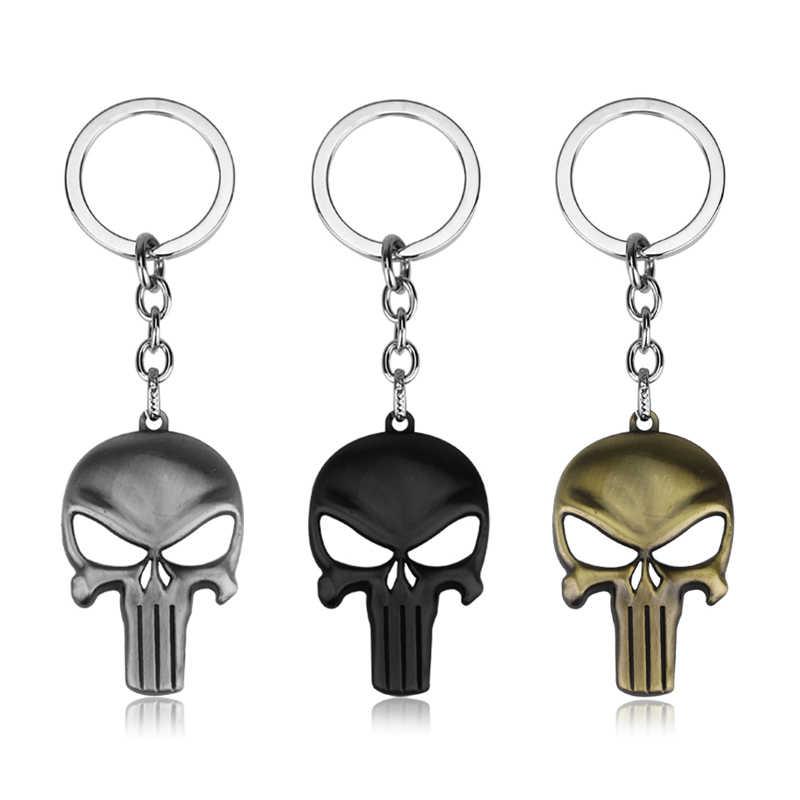 Фильм Marvel Каратель логотип черепа брелок со скелетом ювелирные изделия жуткий череп маска брелок кольцо автомобильный кошелек Висячие сувениры