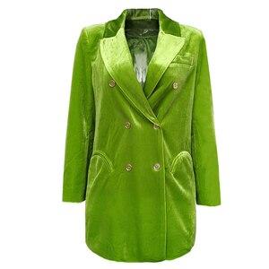 Image 2 - CHICEVER Elegant Womens Blazer Notched Long Sleeve Double Breasted Pocket Large Size Female Suits Autumn Fashion New 2020