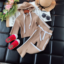 Modne ubrania dla dziewcząt dla dzieci zestawy dla dzieci garnitur Casual bluza z kapturem i spodnie dla dzieci 2 sztuk jesień stroje dla 2-6Years dzieci wiosna nowe zestawy