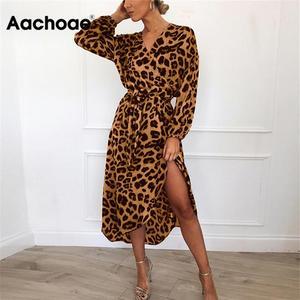 Aachoae Leopard Dress 2020 Women Vintage Long Beach Dress Loose Long Sleeve V-neck A-line Sexy Party Dress Vestidos de fiesta(China)