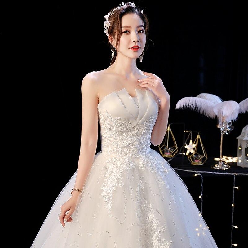 Custom Made Strapless Wedding Dress New Arrival Appliques Embroidery Lace Princess Gown Vestidos De Novia Plus Bridal Ball Gowns