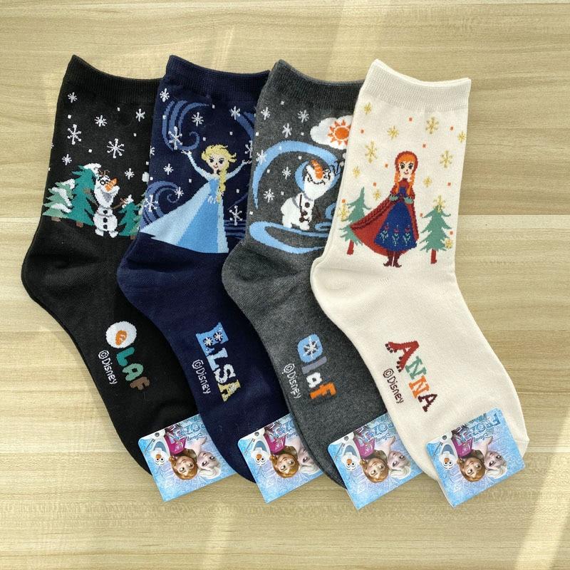 Disney 1Pair Socks Frozen Cartoon Girl Christmas Sock Snowflake Bright Silk Women's Socks Cotton Adult Socks