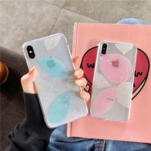 For Iphone 7 8 Plus Shiny Floral Patterned Soft Silicone For Iphone 6 6s 7 7plus 8 8plus X XS Real flower Transparent Phone Case цена