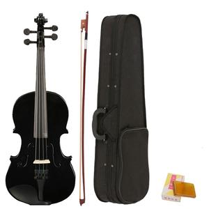 Full-Size Bow Ebony Violin Case Horse-Tail Acoustic Rosin-Made Black White Composite-Wood