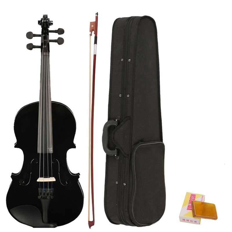 4/4 Full Size Acoustic Violin Fiddle Black With Case Bow Rosin Made From Composite Wood, Plastic, Ebony And White Horse Tail