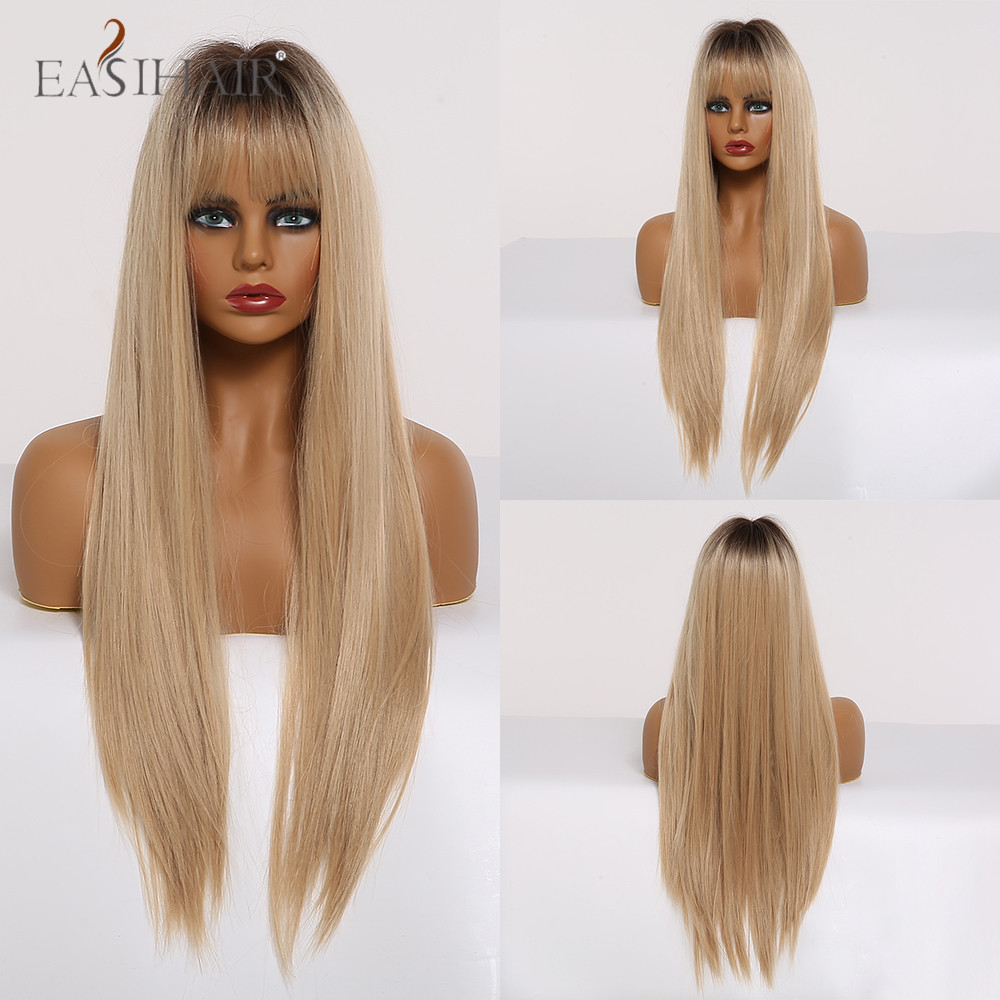 EASIHAIR Ombre Blonde Brown Long Silky Straight Hair Wigs With Bangs Natural Cosplay Synthetic Wigs For Women Heat Resistant