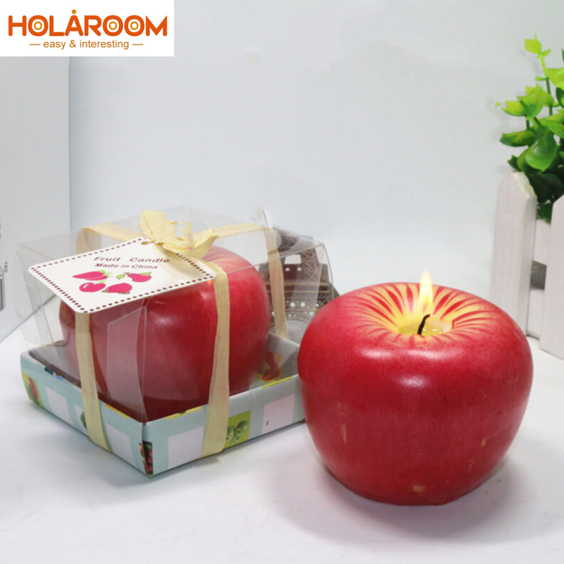 Lovely Red Design  Apple Shape Fruit Scented Candles  Gifts   Creative Home Decor