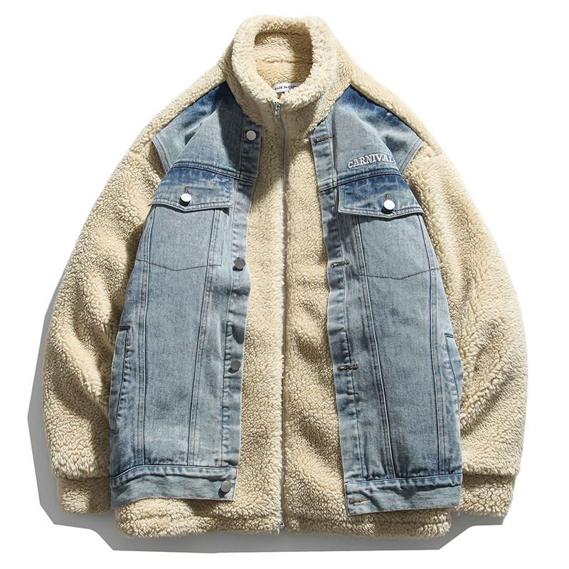 Women Fake Two Pieces Denim Pachwork Jacket Lamb Cashmere Parka Coat Thick Warm Oversize Zipper Stand Collar Winter Outwear