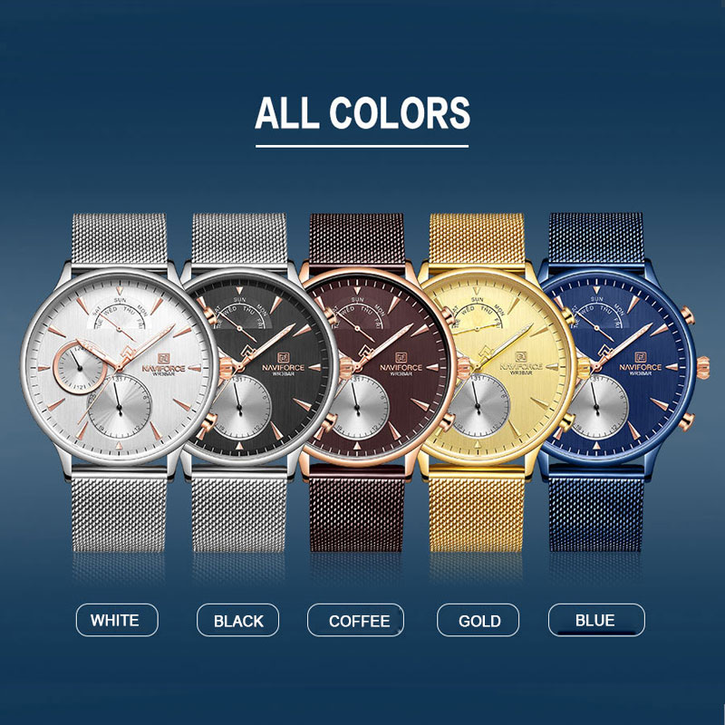 NAVIFORCE Топ бренд класса люкс мужские часы из нержавеющей стали мужские s часы кварцевые спортивные водонепроницаемые мужские наручные часы Relogio Masculino - 6