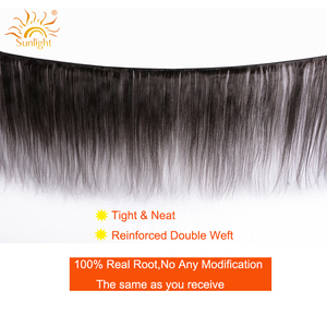 Image 2 - Straight Hair Bundles With Closure Peruvian Hair Weave Bundles With Closure Sunlight Human Hair Bundles Non Remy Hair Extensions