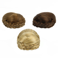 Free Beauty Synthetic Braided Chignon Sandy Hard Hair Bun Cover Clip In Extensions Black Blond Curly Donut Chignons Accessoires