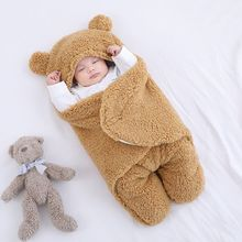 Cute Bear Baby Sleeping Bag 0-1y 50*30CM Soft Flannel Material Is Warm and Comfortable Newborn Receiving Blanket Infant Clothes