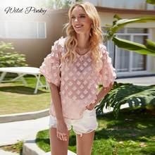 Блузка wildpinky Женская трехмерная с цветочным узором элегантная