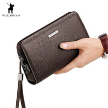 WILLIAMPOLO Men Wallet Clutch bag Men's Genuine leather wallet With password lock Men's business clutch carteira masculina purse williampolo minimalist business men s clutch bag genuine leather flap handy wallet men clutches with cigarette case phone pocket