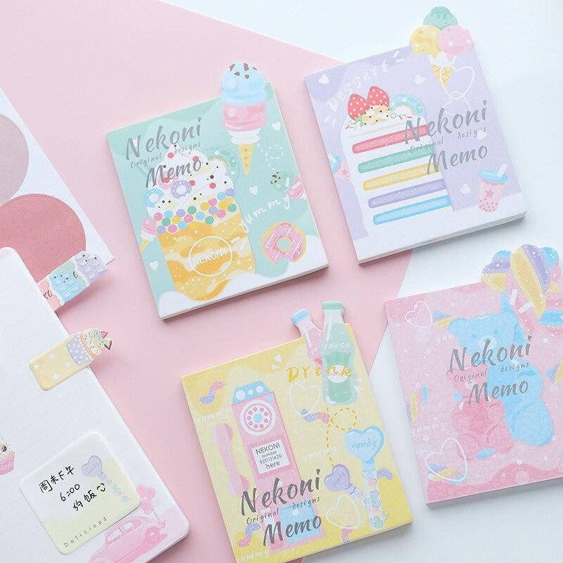 Ice Cream Cake Bear Kawaii Nekoni Loose Leaf Memo Pad Notes Bookmark School Office Supply