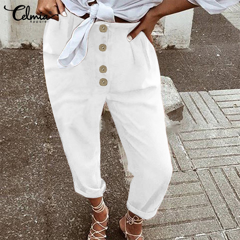 Celmia Women Vintage Pants 2020 Autumn High Waist Harem Pants Ladies Casual Loose Buttons Female Trouser Long Pantalon Plus Size