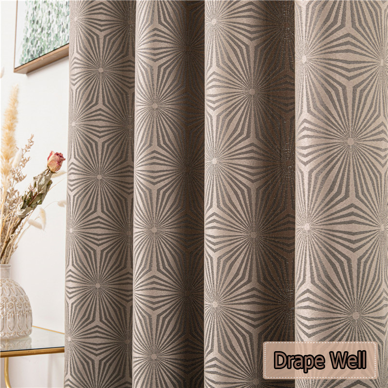 300x280 Luxury Geometric Pattern Curtains for Bedroom Living Room Elegant Window Treatments Jacquard Brown Blackout Curtain Grey