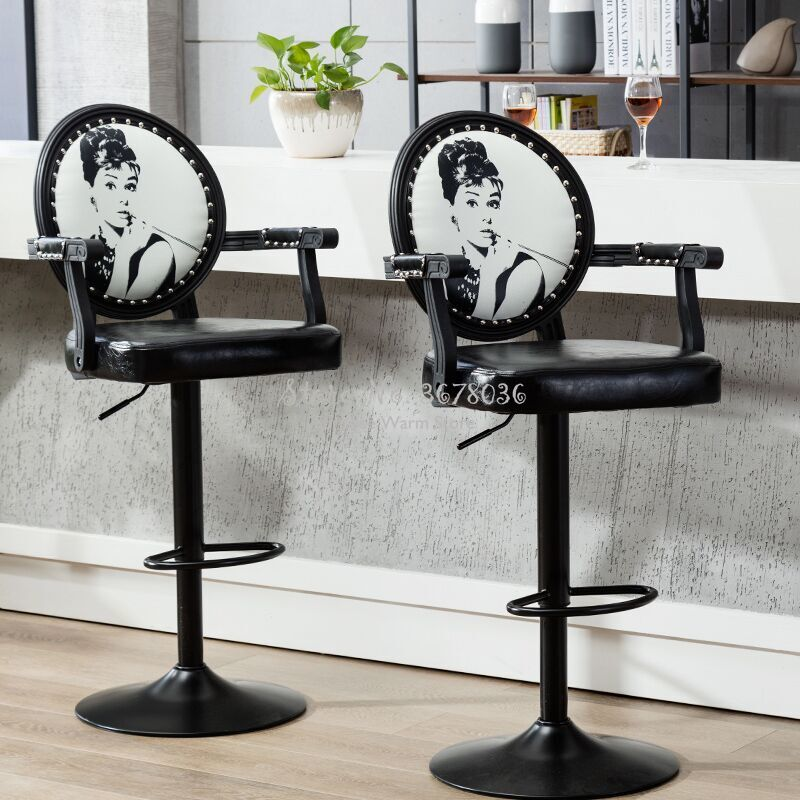 Europe Creative Bar Stools Modern Bar Chairs High Stools Height Adjustable Bar Chair With Armrest Cash Register Reception Chairs