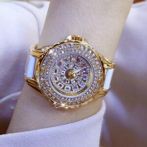 Image 1 - Moda izle bayanlar quartz saat elmas kristal lüks kadın taklidi saatler kadın Relojes Para Mujer Horloges Vrouwen