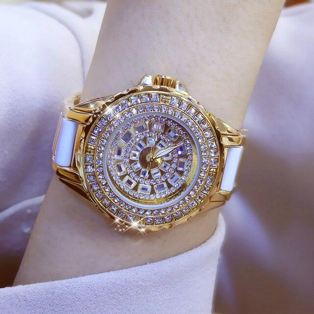 Moda izle bayanlar quartz saat elmas kristal lüks kadın taklidi saatler kadın Relojes Para Mujer Horloges Vrouwen