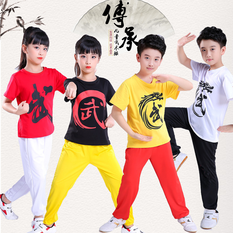 2019 Wushu Kids Chinese Outfits For Kids Kungfu Tai Chi Clothing Printing Martial Arts Stage Performance Costume Set Girls Boys