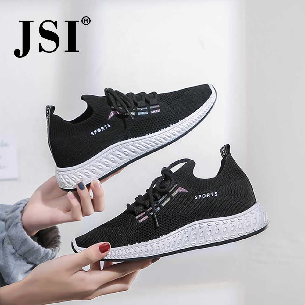 Jsi Vrouwen Outdoor Sneakers Ronde Hoofd Lace Up Pure Kleur Mesh Platte Casual Schoenen Mode Comfortabele Ademende Sneakers JY17