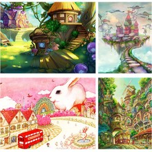 Scape Diamond Painting Cottage Fairy Tale Full Square 5d Diy Embroidery Rabbit Castle Tree Cross Decor For Home Gift B23