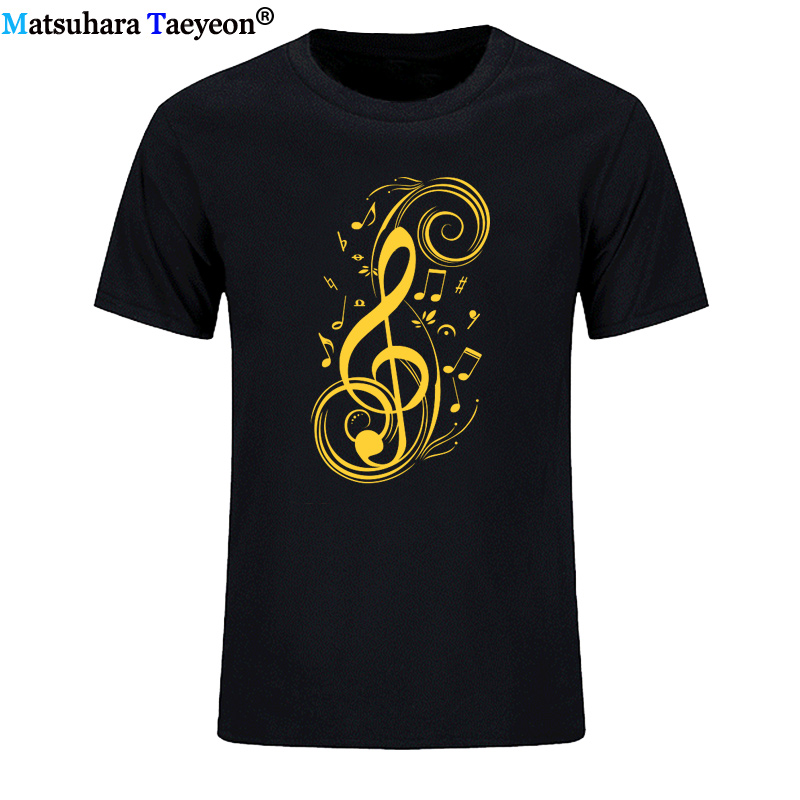 EU Size New Musical Notes Cotton Car T shirt Funny Print Tee short sleeve T-shirt Men Soft O-neck Humor Tshirt Plus Size image