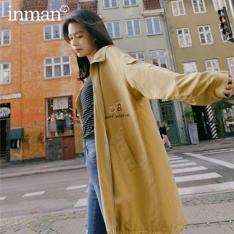 INMAN 2020 Spring New Arrival Literary Child Interest Printed Hooded Invisible Zipper Hidden Discount Wind Coat