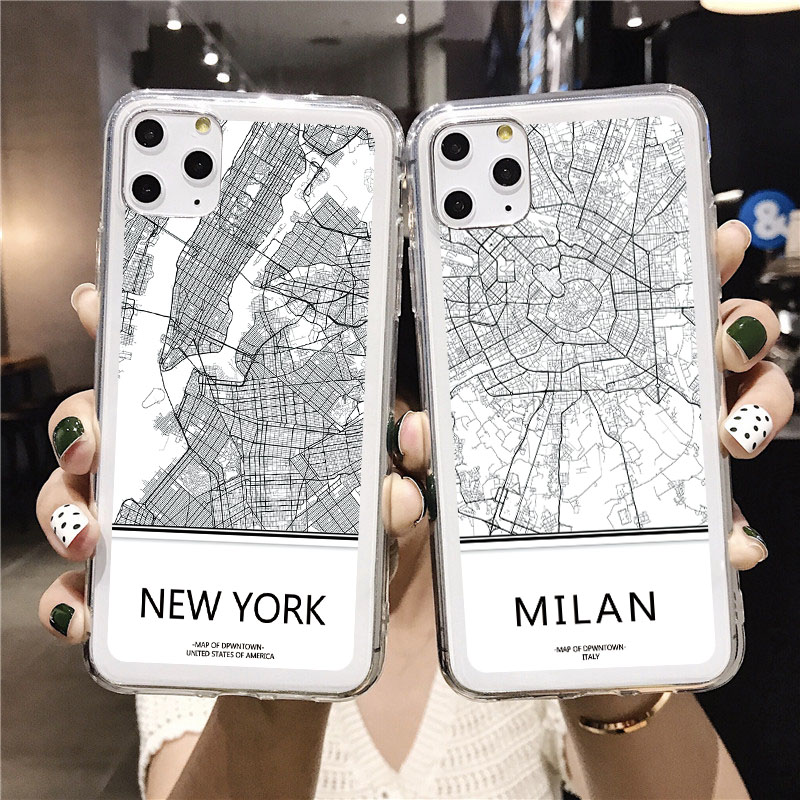 Transparent Ins Travel Country Sketch City World Map Phone Case for iPhone 11 Pro XS Max XR X 7 8 6S Plus SE 2020 Case Soft TPU