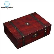 Vintage Boxes Wooden Storage Box Jewelry Metal Lock Treasure Chest Case Desktop Handicraft Sundries Organizer Contain