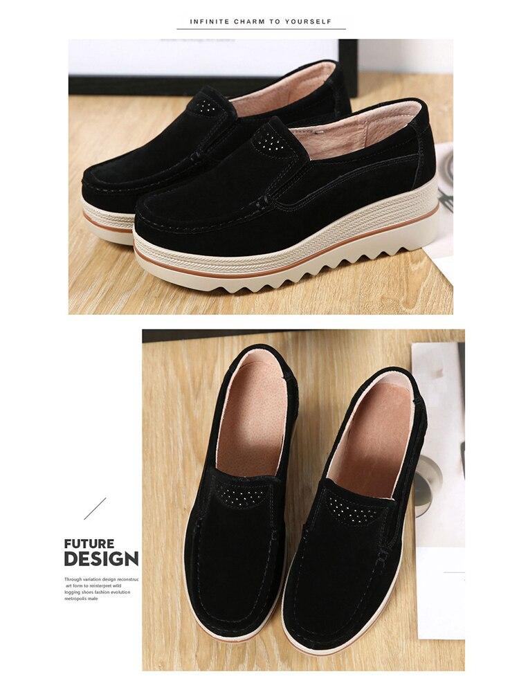Women Flats Plus Size Increase Wedge Flat Shoes Women Fashion Moccasins Ladies Female Footwear Sneaker Zapatos De Mujer VT613 (5)