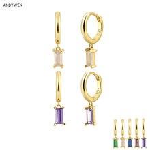 ANDYWEN-boucles d'oreilles rondes en argent Sterling 925, bijoux ronds en cristal, or, violet, pendentif, goutte, mode, 2020