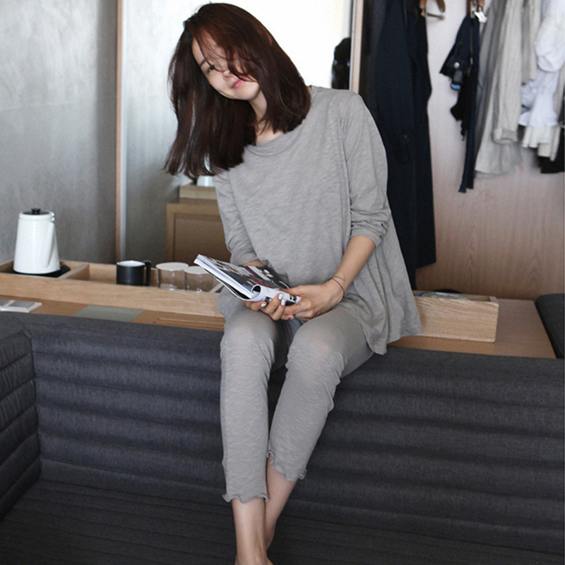 Pajamas Women's Autumn Loose-Fit Trousers Long Sleeve Modal Set Spring And Autumn Comfortable Elasticity Home Wear
