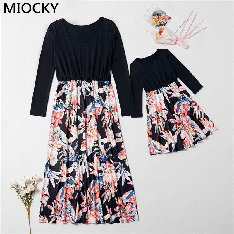 Autumn Mom and Daughter Dress New Patchwork Princess Mother daughter clothes Family Look dresses E0309