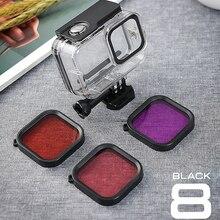 Водонепроницаемый чехол для дайвинга, 60 м, защитный чехол для дайвинга, фиолетовый, розовый, красный, лен, фильтр для экшн камеры GoPro Hero 8 Black