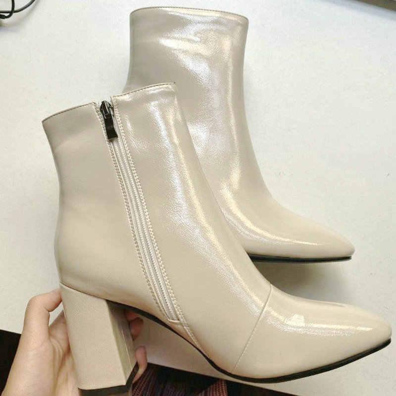2019 Herfst Vrouwen Laarzen Faux Leer Super Hoge Hak Enkellaars Mode Vierkante Neus Rits Winter Laarzen Zwart Wit