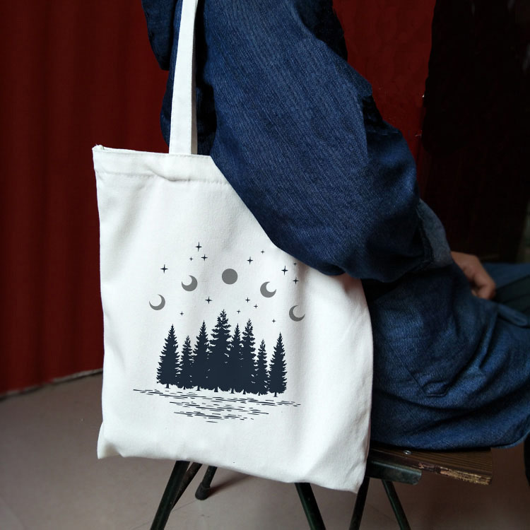 Ladies Handbags Cloth Canvas Tote Bag Dark Forest Print Shopping Travel Women Eco Reusable Shoulder Shopper Bags Bolsas De Tela