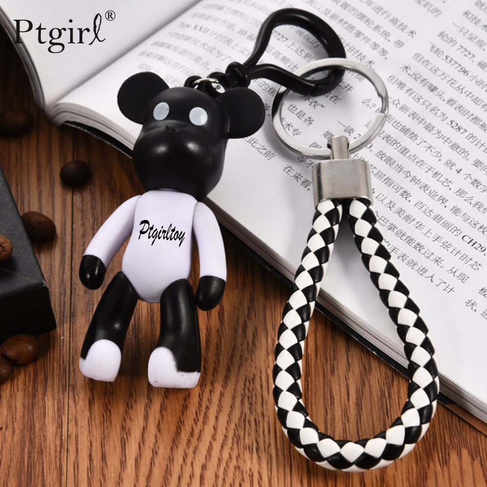 Cute Mini Bear Keychain Small Keyring Trinket Key Ring Ptgirl Cartoon Doll Bear Key Chain Gifts Bag Charm Pendant Accessories